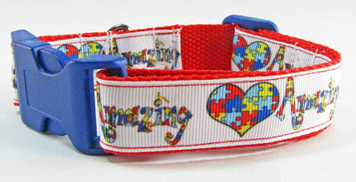 Autism Awareness dog collar handmade adjustable buckle collar 1 wide or leash - Furrypetbeds