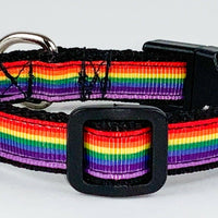 "Rainbow Pride cat & small dog collar 1/2"" wide adjustable handmade bell leash - Furrypetbeds"