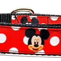 "Mickey Mouse dog collar Handmade adjustable buckle 1""or 5/8""wide leash Disney - Furrypetbeds"