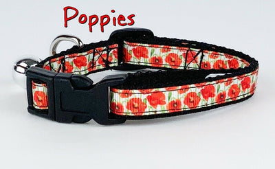 Poppies cat & small dog collar 1/2