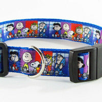 "Peanuts dog collar handmade adjustable buckle collar 1"" wide leash fabric snoopy - Furrypetbeds"
