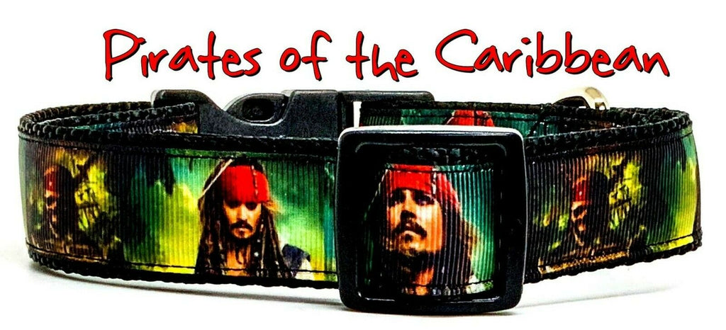 "Pirates of the Caribbean dog collar handmade adjustable buckle 1"" wide or leash"