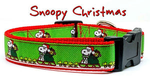 "Snoopy Christmas dog collar handmade adjustable buckle collar 1"" wide or leash - Furrypetbeds"