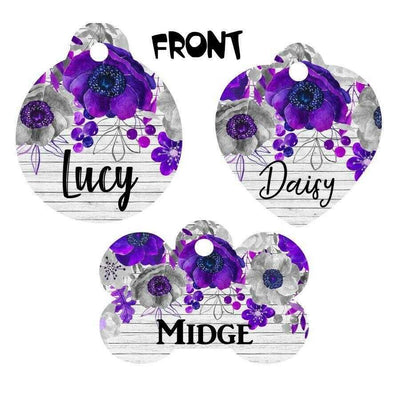 Pet ID Tag Flowers Personalized Custom Double Sided Pet Tag w/name & number - Furrypetbeds