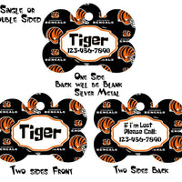 Pet ID Tag Bengals Personalized Custom Double Sided Pet Tag w/name & number - Furrypetbeds