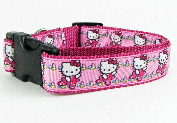 "Hello Kitty ballet dog collar handmade adjustable buckle collar 1"" wide leash - Furrypetbeds"