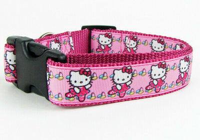 Hello Kitty ballet dog collar handmade adjustable buckle collar 1