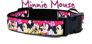 "Minnie Mouse dog collar handmade adjustable buckle collar 1""wide or leash fabric - Furrypetbeds"