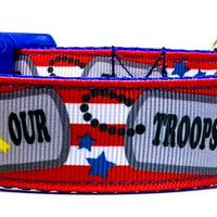"Support Our Troops dog collar handmade adjustable buckle collar 1"" wide or leash - Furrypetbeds"