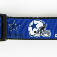 "Dallas Cowboys dog collar handmade adjustable buckle collar football 1"" wide - Furrypetbeds"