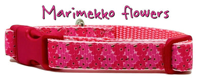 Marimekko Flowers dog collar handmade adjustable buckle collar 5/8