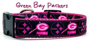 "Packers girl dog collar handmade adjustable buckle 1"" or 5/8"" wide or leash - Furrypetbeds"