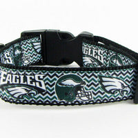 "Eagles dog collar handmade adjustable buckle collar football 1""wide or leash $12 - Furrypetbeds"