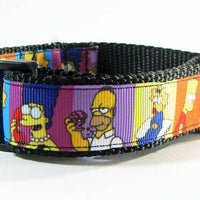 "Simpsons dog collar handmade adjustable buckle collar 1"" or 5/8"" wide or leash - Furrypetbeds"