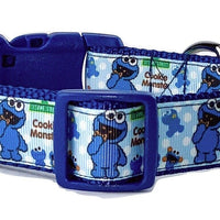 "Cookie Monster dog collar handmade adjustable buckle collar 1"" wide or leash - Furrypetbeds"