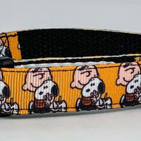 "Peanuts dog collar handmade adjustable buckle collar 5/8"" wide or leash fabric - Furrypetbeds"