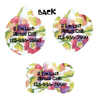 Pet ID Tag WildFlowers Personalized Custom Double Sided Pet Tag w/name & number - Furrypetbeds