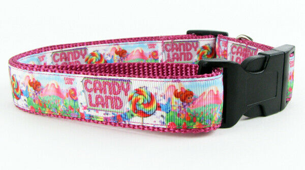 "Candyland dog collar handmade adjustable buckle collar 1"" wide or leash $12 - Furrypetbeds"