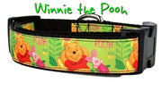 "Winnie The Pooh dog collar handmade adjustable buckle collar 1"" wide or leash - Furrypetbeds"