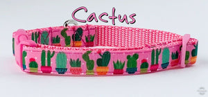 "Cactus dog collar handmade adjustable buckle collar 5/8"" wide or leash fabric - Furrypetbeds"