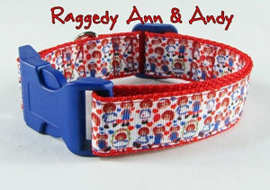 "Raggedy Ann & Andy dog collar handmade adjustable buckle collar 1"" wide or leash - Furrypetbeds"