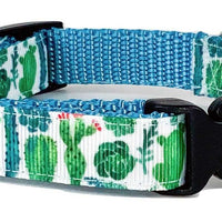"Cactus dog collar handmade adjustable buckle collar 5/8""wide or leash - Furrypetbeds"
