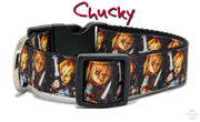 "Chucky dog collar handmade adjustable buckle collar 1"" or 5/8"" wide or leash"