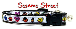 "Sesame Street cat or small dog collar 1/2"" wide adjustable handmade Or leashes - Furrypetbeds"