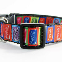 "Coca Cola dog collar handmade adjustable buckle collar 1"" wide or leash fabric - Furrypetbeds"