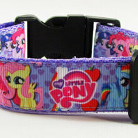 "My Little Pony dog collar handmade adjustable buckle collar 1"" wide or leash - Furrypetbeds"