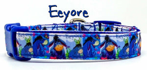 "Eeyore Dog collar Winnie The Pooh handmade adjustable buckle 5/8"" wide or leash"
