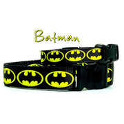 "Batman dog collar handmade adjustable buckle collar 1""or 5/8"" wide or leash"