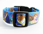 "Beauty & the Beast dog collar handmade adjustable buckle 1"" or 5/8""wide or leash - Furrypetbeds"