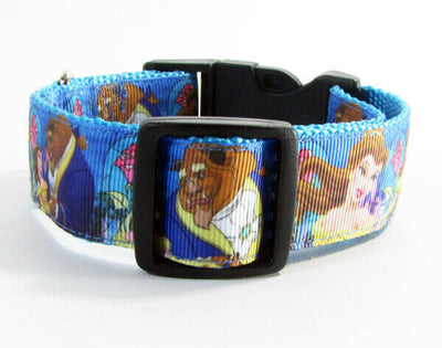Beauty & the Beast dog collar handmade adjustable buckle 1