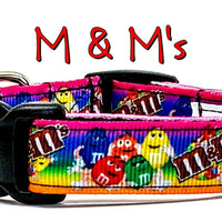 "M & M's dog collar handmade adjustable buckle collar 5/8"" wide or leash - Furrypetbeds"