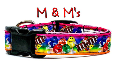 M & M's dog collar handmade adjustable buckle collar 5/8