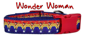 "Wonder Woman dog collar, handmade, adjustable, buckle collar, 1"" wide, leash - Furrypetbeds"
