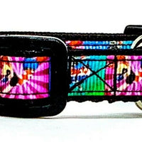 "Harley Quinn cat or small dog collar 1/2"" wide adjustable handmade bell or leash"