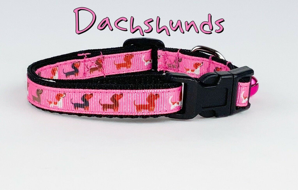 "Dachshunds cat or small dog collar 1/2"" wide adjustable handmade bell leash - Furrypetbeds"
