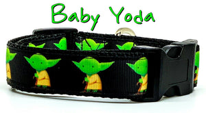 "Baby Yoda dog collar handmade adjustable buckle collar 1""wide or leash Star Wars - Furrypetbeds"