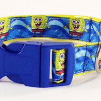 "Spongebob dog collar handmade adjustable buckle 1"" or 5/8"" wide or leash cartoon"