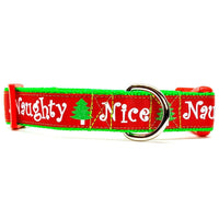 "Naughty or Nice Christmas dog collar handmade adjustable buckle 1"" or 1/2""wide"