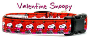 "Snoopy Valentine dog collar handmade adjustable buckle collar 5/8""wide or leash - Furrypetbeds"