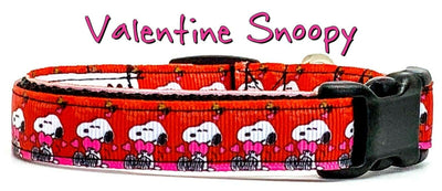 Snoopy Valentine dog collar handmade adjustable buckle collar 5/8