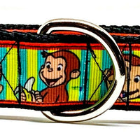 "Curious George dog collar Handmade adjustable buckle 1""or 5/8"" wide or leash"