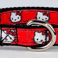 "Hello Kitty cat or small dog collar 1/2"" wide adjustable handmade bell Or leashes - Furrypetbeds"