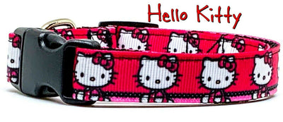 Hello Kitty dog collar handmade adjustable buckle collar 5/8