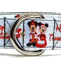 "Mickey Thanksgiving dog collar handmade adjustable buckle collar 1""wide or leash"