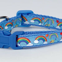 "Rainbows cat & small dog collar 1/2"" wide adjustable handmade bell leash - Furrypetbeds"