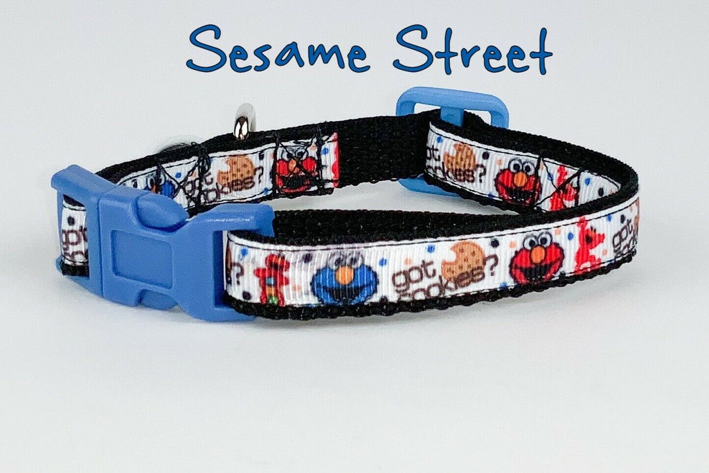 "Sesame street cat & small dog collar 1/2"" wide adjustable handmade bell leash - Furrypetbeds"